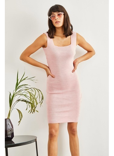 Sortee Kadın Kare Yaka Elbise Pembe
